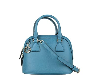 34189e869 Gucci Women's Teal Blue Leather 2-Way Convertible GG Charm Small Dome Bag