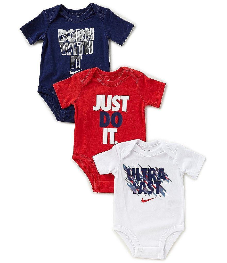 0d0e9fbc68aec Amazon.com: NIKE Baby Boys 3Pk Short Sleeve Bodysuits, Blue (9-12 ...