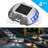 Solar Deck Light,SOLMORE 4 Pack LED Solar Dock Path Road Lights Marker lighting,Waterproof Security Warning Lights for Outdoor Fence Patio Stud Yard Home Driveway Pathway Stairs Step Garden Lamp Blue