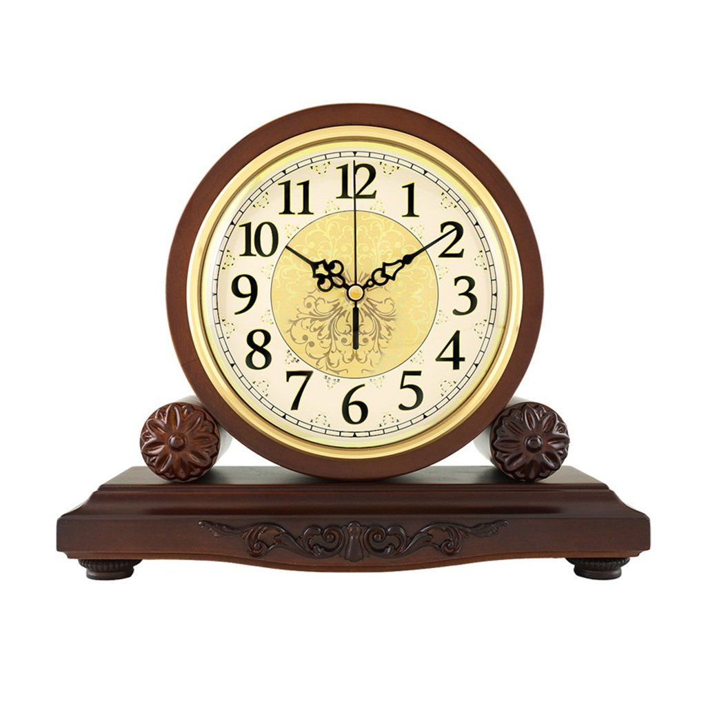 HAOFAY Solid Wood Battery Operation, No Ticking, Shelf Clock Chronograph Clock 9'' × 10.2'' × 3.5'' , Maroon ( Color : Not timekeeping )