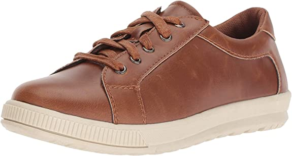 Deer Stags Boys' Kane Memory Foam Casual Dress Comfort Sneaker, Dark tan/Cream, 5.5 Medium US Big Kid best dress shoes for boys