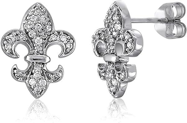 Sterling Silver Rhodium Plated Fleur De Lis Stud Earrings