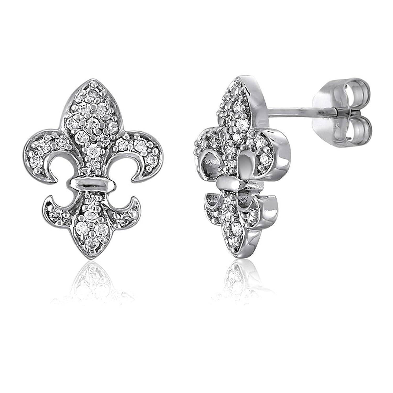 Sterling Silver Rhodium-plated CZ Fleur de Lis Pendant
