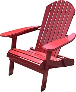 Northbeam Outdoor Lawn Garden Portable Foldable Wooden Adirondack Accent Chair, Deck, Porch, and Patio Seating with 250 Pound Capacity, Red
