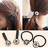 Blingy's® Original Black and White Camellia Hair Bands and Hair Clips/Duck Bill Clips/Flower Hair Bands/Hair Flowers/Rubber Bands/Hair Ropes (4-piece Combo Set) with Blingy's® Bag