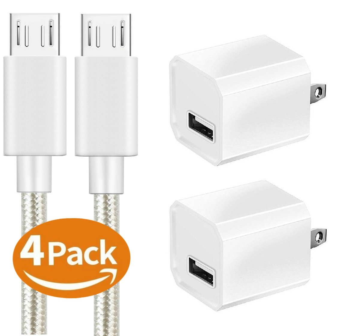 Charger, Certified 5W Universal Portable Travel USB Wall Charger Adapter w/Nylon Braided Micro 10FT USB High-Speed Cable for Samsung, LG, Motorola, Nexus, HTC, Google, Sony, Android and More (4 Pack)