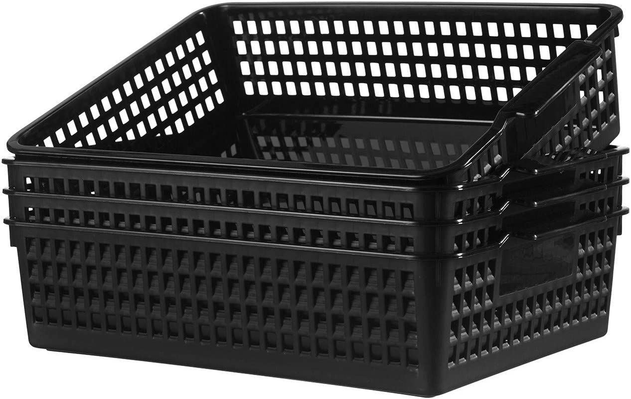 YXB Plastic Storage Basket - 4 Packs Plastic Organizer Bins Storage Trays Baskets with Handle Black Organizer Woven Basket Bin for Office Home Kitchen Bathroom