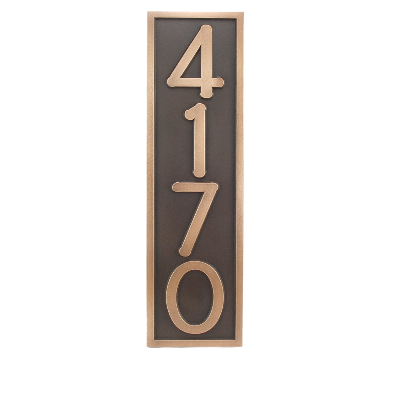 Frank Lloyd Vertical Home Number Plaque 6.5x23 - Raised Bronze Metal Coated by Atlas Signs and Plaques