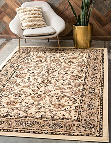 Unique Loom Sialk Hill Collection Traditional Floral Overall Pattern Border Ivory Home Décor Area Rug (10' x (Accents Collection Floral Rug)