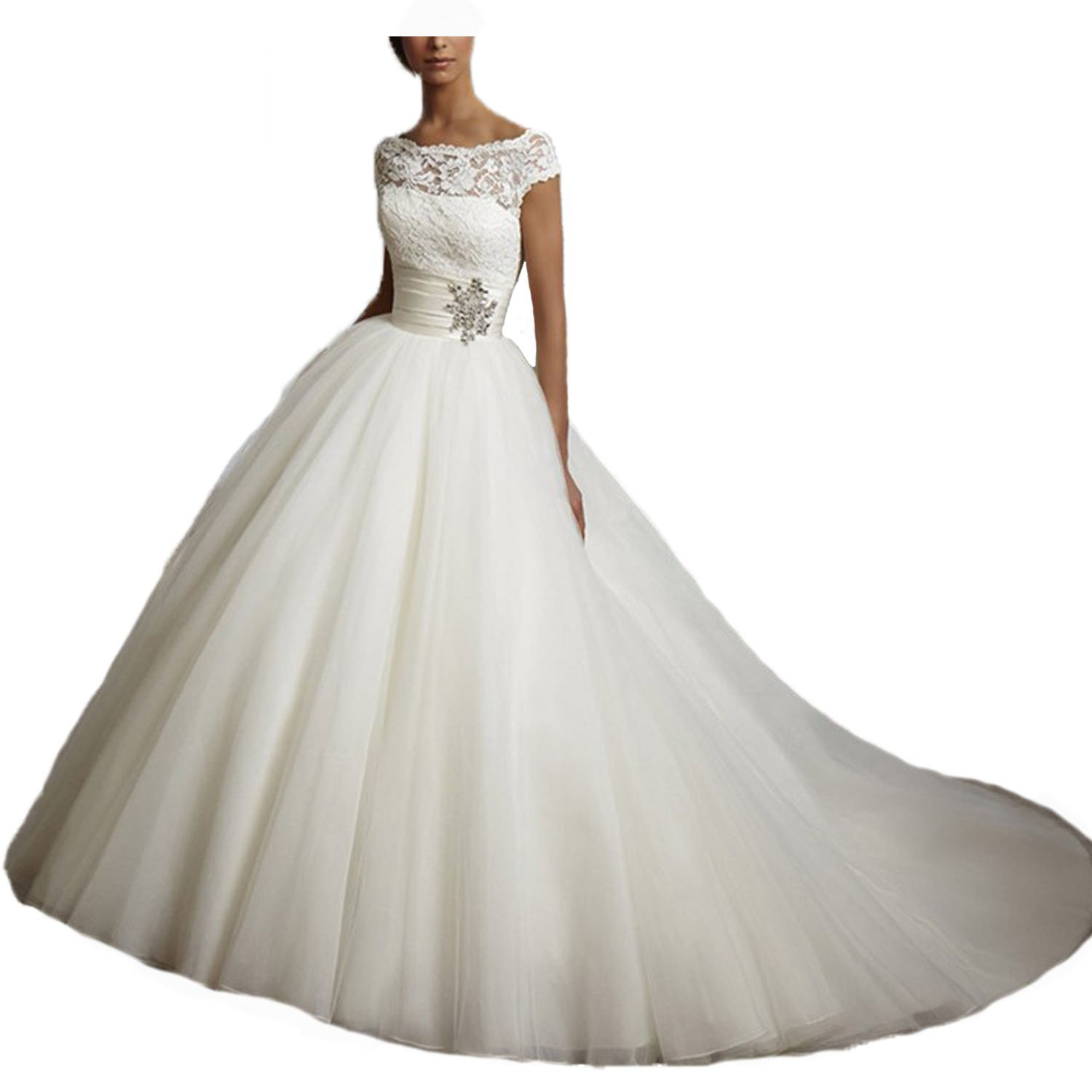 2018 Boat Neck Tulle Long Ivory Lace Wedding Dresses For Bride Cap Sleeves Maxi Gown(16, Ivory)
