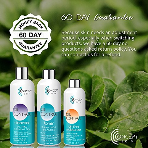 Best Hormonal Acne Treatment - Oily Skin Control and Adult Acne Regimen. 3-Step System Includes Cleanser, Mattifying Moisturizer and Toner with Tea Tree & Salicylic Acid. Sample Set. by CONCEPT SKIN (now Lauda Botanicals) (Image #3)