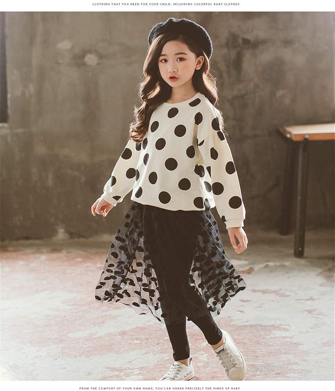 LINHAI New Girls Polka dots Long Sleeves T-Shirt Yarn Pantskirt Set Girl Clothes 2PCS