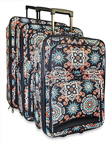 Ever Moda 3-Piece Carry On Luggage Set with Wheels, Rolling Suitcase, Mosaic (Cheerleading Outfits Cheap)