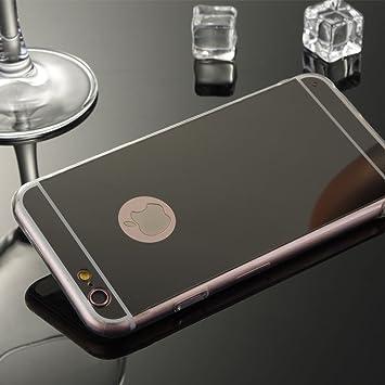 Carcasa gel TPU Funda [IPhone 7 PLUS] efecto espejo silicona transparente - COLOR NEGRO