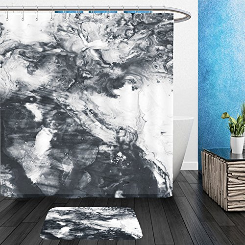 Vanfan Bathroom 2?Suits 1 Shower Curtains & ?1 Floor Mats abstract hand painted black and white background acrylic painting on canvas wallpaper texture 548641843 From Bath room