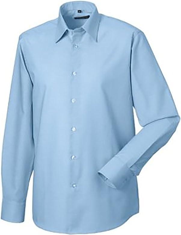 Russel Collection - Camisa de manga larga Cuidado facil Modelo Oxford Tailored hombre caballero - Trabajo/Oficina/Recepcion (Cuello 37cm/Azul): Amazon.es: Ropa y accesorios