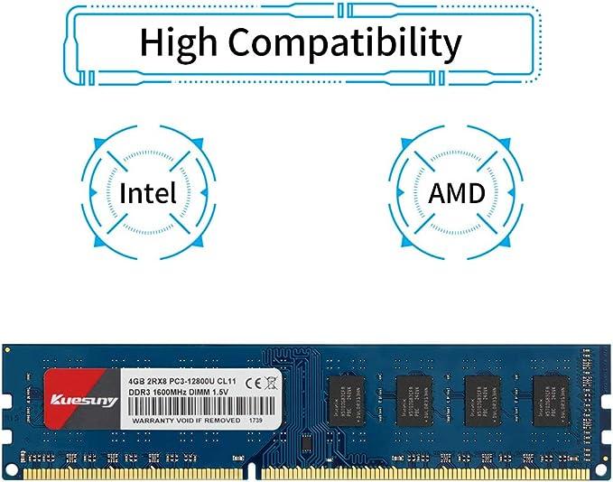 Kuesuny M/émoire RAM 4 Go DDR3L//DDR3 1600 MHz PC3L//PC3-12800S PC3L//PC3-12800 1,35 V//1,5 V CL11 204 broches 2RX8 double rang non ECC sans tampon id/éal pour mise /à niveau ordinateur portable