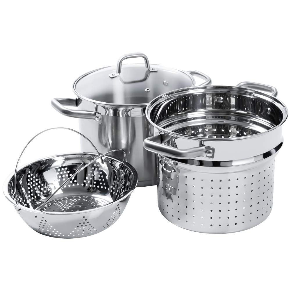 Duxtop SSIB Stainless Steel Induction Cookware Set, Impact-Bonded Technology (4 Pieces)