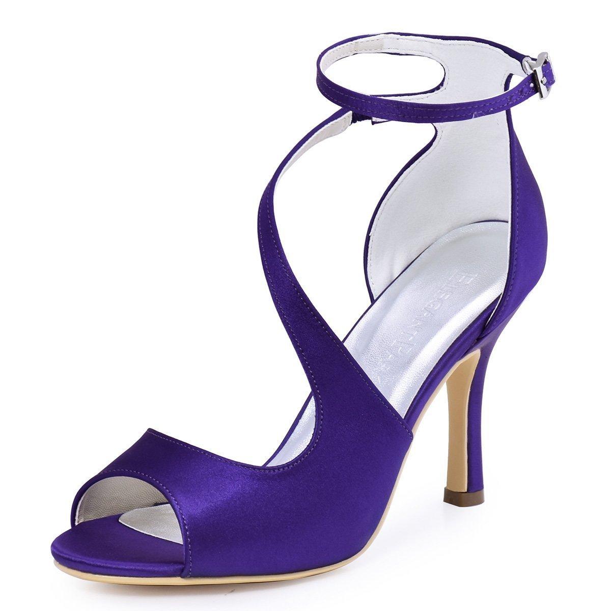 ElegantPark HP1505 Zapatos de tacón Punta abierta Rhinestones raso fiesta zapatos de novia Mujer 40 EU|Satin Morado