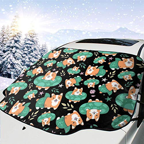 CHILL¡¤TEK Corgi Beach Swimsuit Detail Universal Car Front Window Visor Cover Block Sun Heat Snow Waterproof with Personalized Printed All Seaon Use Size 57.9x46.5 Inch