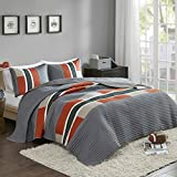 #4: Bedspreads Queen Size Mini Quilt Set - Casual Pierre 3 Piece Kids Lightweight Filling Bedding Cover - Gray / Orange Patchwork Print - All Season Hypoallergenic - Fits Full/Queen - Comfort Spaces