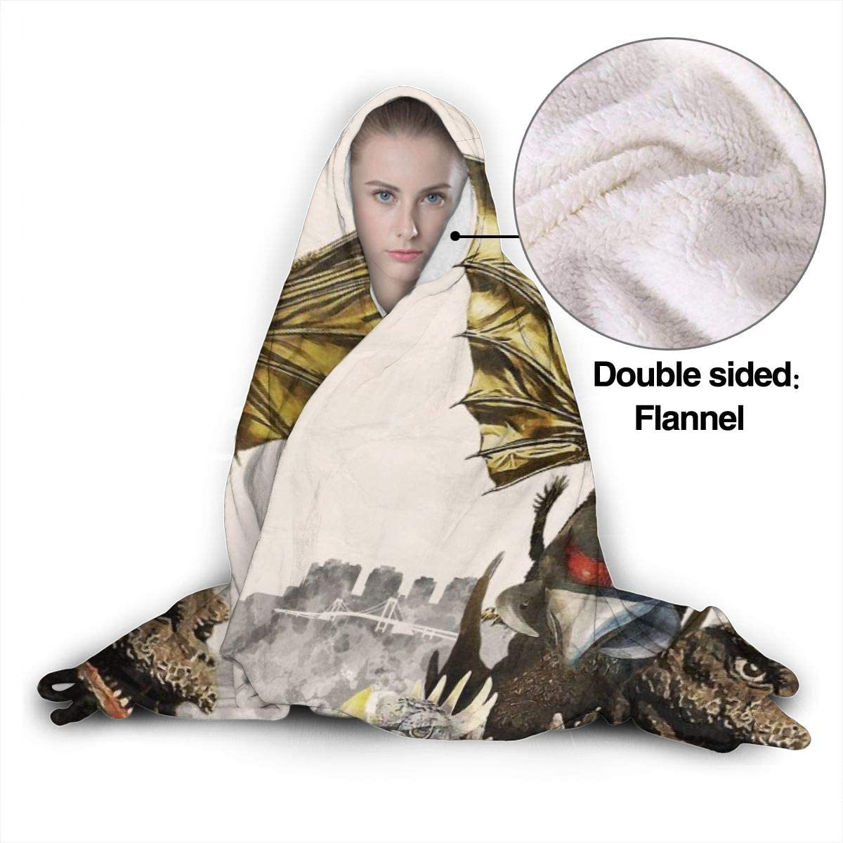 ONEFashion Lightweight Luxury Winter Warm Flannel Fleece Blanket Hooded for Livingroom Bedroom,King Adora Vs Godzilla Wearable Hooded Blanket Hood Poncho Cloak Cape,Queen Size