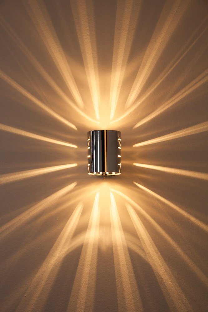 On Off Switch Living Room Chrome Wall Lights with Energy Saving Lights Modern LED Wall Lights for Bedroom with Shadow Effects Indoor Lamp for Ambience of Elegance and Sophistication