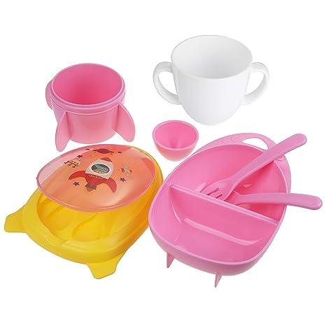 Lictin Set Vajilla Bebé sin BPA,Vajilla Infantil de Naves Espaciales y Cohetes para Bebes, Fácil de Llevar(Rosa)