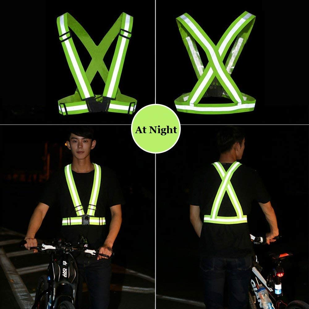 Jtdeal Adjustable Safety Vest Reflective Vest For Running Motorcycle Cycling Sports Children Adult Green Business Industry Science
