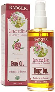 product image for Badger - Body Oil, Damascus Rose, Certified Organic Body Oil, Natural Body Oil, Skincare Oil, Body Oil Organic, After Shower Body Oil, Body Oil for Women, Moisturizer Body Oil, 4 oz