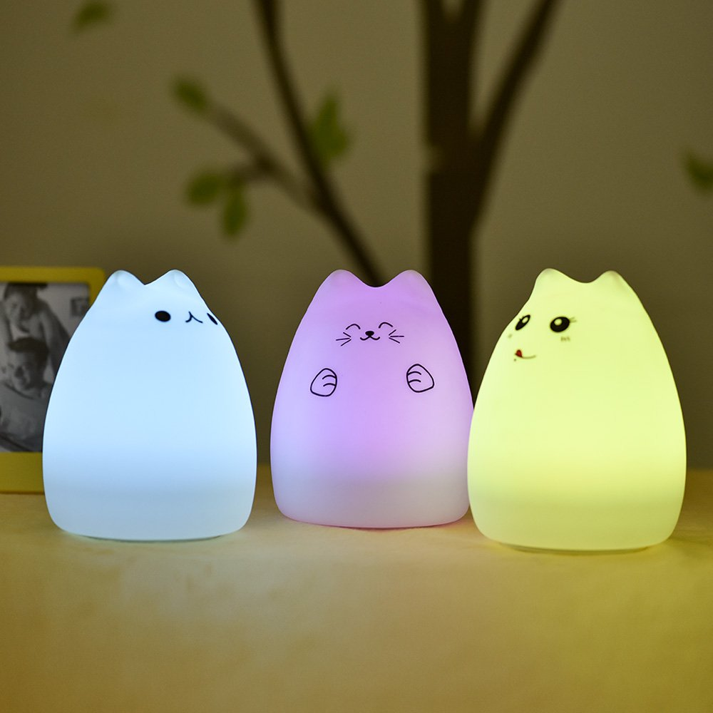 USB Rechargeable Silicone Cat Carton Night Lights with Warm White and 7-Color Breathing Modes for Kids Celebrity Cat Children Baby Litake LED Night Light