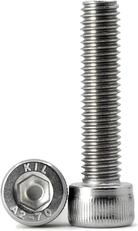 Allen Socket Drive A2-70 304 Stainless Steel Bright Finish Machine Thread Full Thread Quantity 20 M8-1.25 x 12mm Socket Head Cap Screws Metric