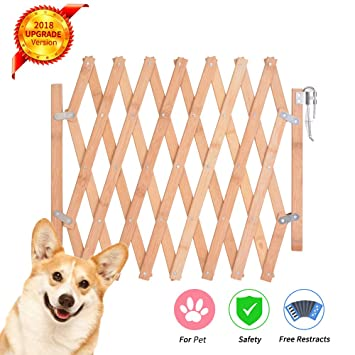 Urijk Swing Dog Gate Wooden Folding Dog Stair Gate For Indoor Foldable Pet Safety Gate Barrier Guard Door Fence For Small Medium Dog 25 104 Cm W