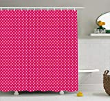 Hot Pink Polka Dot Shower Curtain Georgia Barnard Retro Shower Curtain, Retro Polka Dots Vintage Textured Classical Lovely Feminine Nostalgic Design, Cloth Fabric Bathroom Decor Set with Hooks, Hot Pink and Yellow