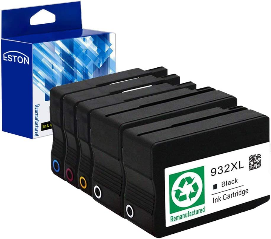 ESTON Remanufactured Ink Cartridge Replacement for HP 932 XL 933XL High Yield for HP OfficeJet 6600 6700 6100 7610 Combo Pack 5 Pack (2Black 1Cyan 1Magenta 1Yellow)