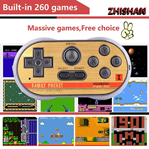 ZHISHAN Retro Games Controller Mini Classic Handheld Game Console Toys for Kids Gamepad Joystick Support Dual Battle Load in 260 Video Games Connect and Play with TV Gaming Station (Black+Blue) by ZHISHAN (Image #2)