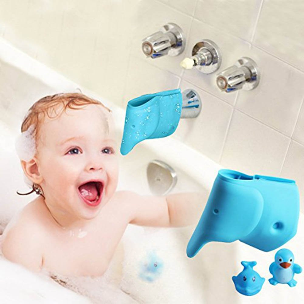 GBaoY 2 Pcs Bathtub Spout Cover Elephant Faucet Cover Cute Tub Faucet Safety Spout Fits Most Spouts Blue