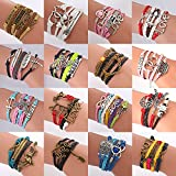 ThyWay 16pcs Bracelets Handmade Braided Multi Layers Vintage Woven Rope Wrap Bangle Bracelets