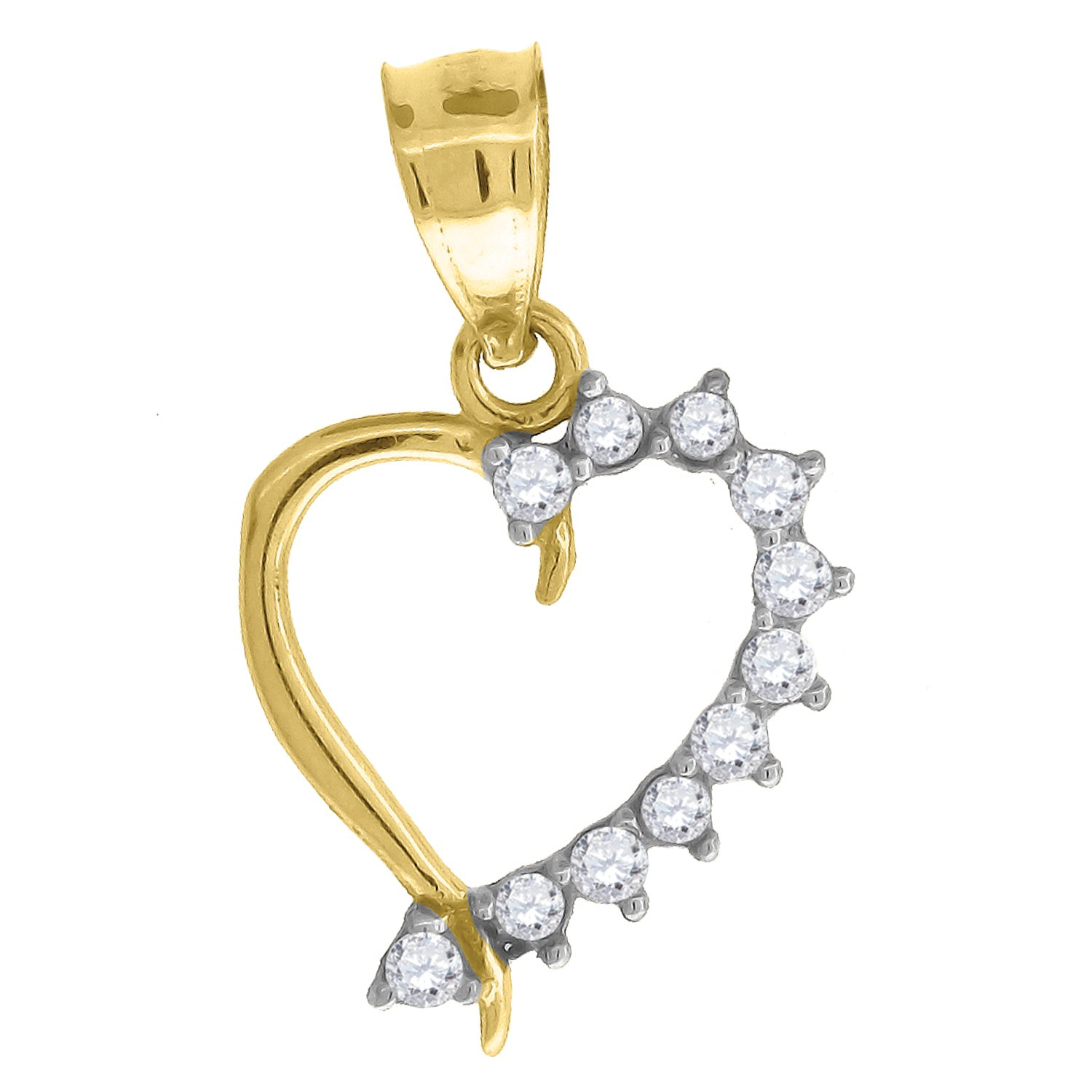 Jewels By Lux 10kt Gold Two-tone CZ Womans Ht:17.9mm x W:10.5mm Heart Charm Pendant Set with Cubic Zirconia that is white in color.