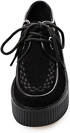 RoseG Zapatos Cordones Plataforma Gótico Punk Ante Creepers Mujer Negro