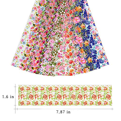 Dasaba 10 Sheets Nail Art Foil Transfer Stickers Easy to Transfer Nail Decals Multicolor Flowers Nail Art Stickers for DIY Nail Decor Crafting and Jewelry Designs