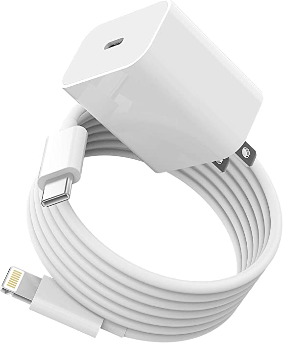 USB C PD Fast Wall Charger Block with 5ft Cable,20W Watt Power Charging Adapter Lightning to Cord Quick Box Compatible with IPhone 11 12PRO MAX MINI XS XR SE X 8 for Ipad ARI Airpod Samsung TypeC Plug