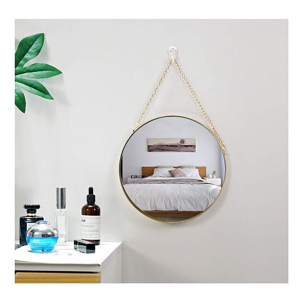 Specchio da bagno con cornice in ottone e catena per appenderlo Vetro Aifusi Round Deep Frame S Size