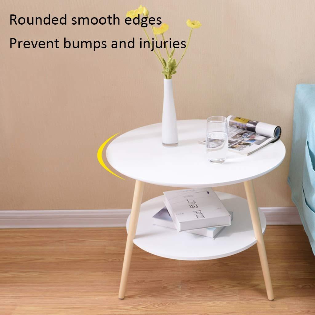 Amazon.com: ZHNAYI mesas de café de doble capa redondas ...