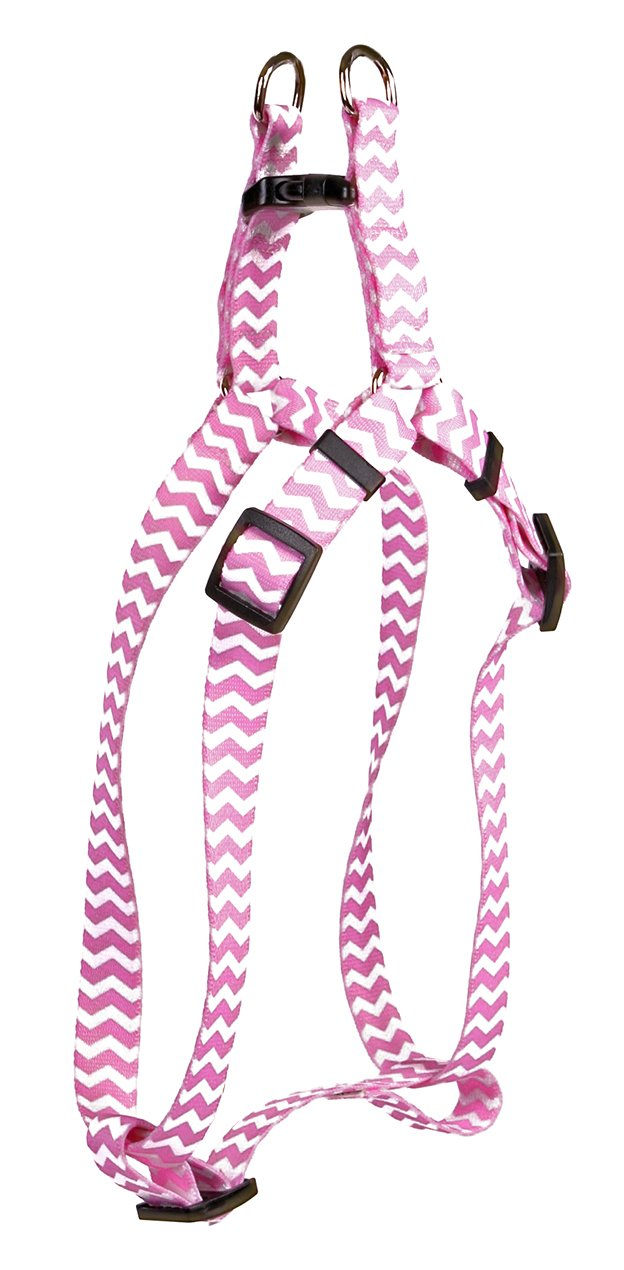 Yellow Dog Design Chevron-Watermelon Step-in Dog Harness 1'' Wide and Fits Chest of 25 to 40'', Large