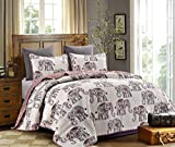 Hedaya Home Fashions 814 3ST Caravan Reversible Quilt Set, Chic Floral Elephant Pattern, 3-Piece Set Quilt Pillow Shams - King