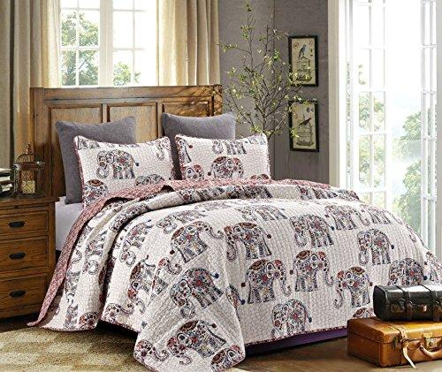 Hedaya Home Fashions 814 3ST Caravan Reversible Quilt Set, Chic Floral Elephant Pattern, 3-Piece Set Quilt Pillow Shams - King - Elephant Quilt Pattern