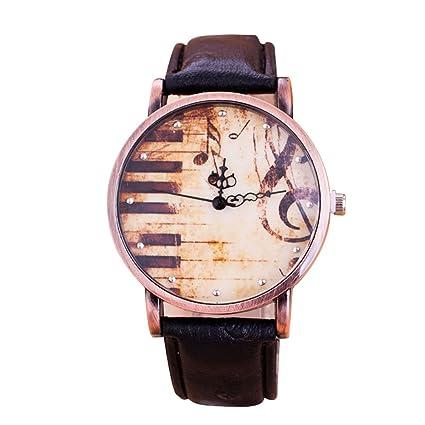 MODIWEN - Reloj para mujer, diseño de piano y notas musicales, estilo vintage retro
