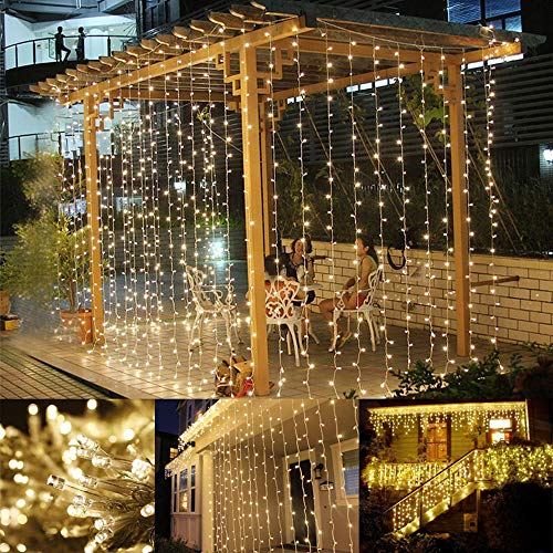 (LE LED Curtain Lights, 9.8x9.8ft, 306 LED, 8 Modes, Plug in Twinkle Lights, Warm White, Indoor Outdoor Decorative Wall Window String Lights for Bedroom, Party, Wedding Backdrop, Patio Décor and More)