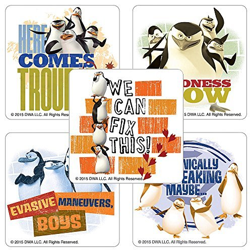 Penguins of Madagascar TV Stickers - Birthday Party Supplies & Favors - 75 per Pack -